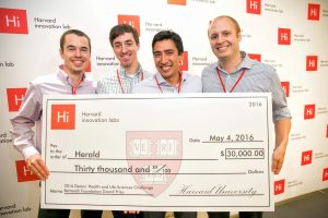 The Herald Team winning the Harvard Dean's Health and Life Science Challenge.